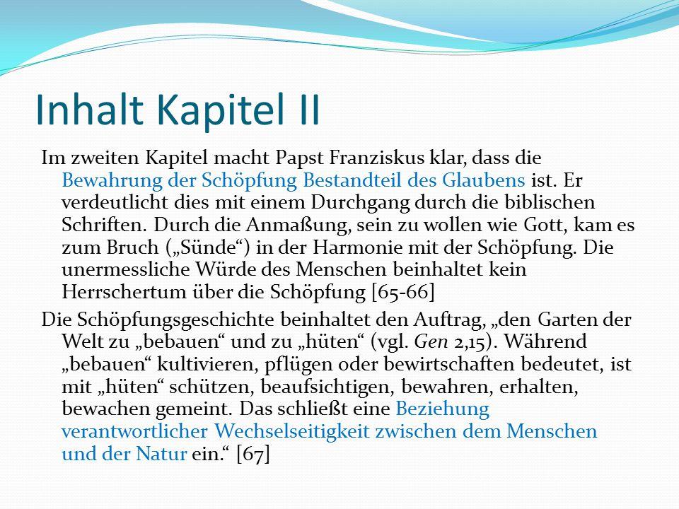 Inhalt Kapitel II Im zweiten Kapitel macht Papst Franziskus klar, dass die Bewahrung der Schöpfung Bestandteil des Glaubens ist. Er verdeutlicht dies