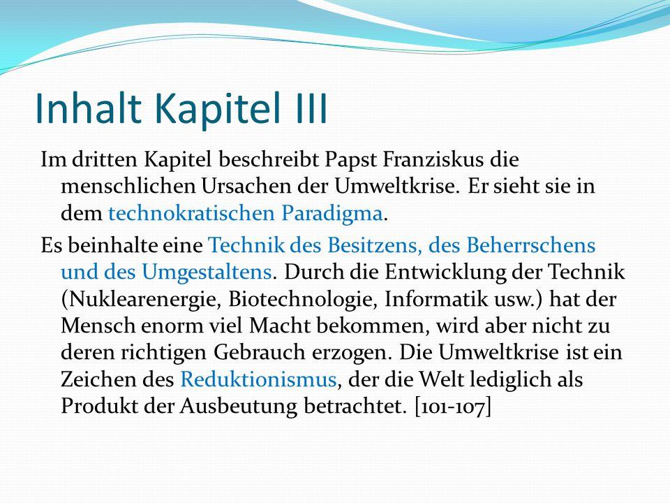 Inhalt Kapitel III Im dritten Kapitel beschreibt Papst Franziskus die menschlichen Ursachen der Umweltkrise. Er sieht sie in dem technokratischen Para