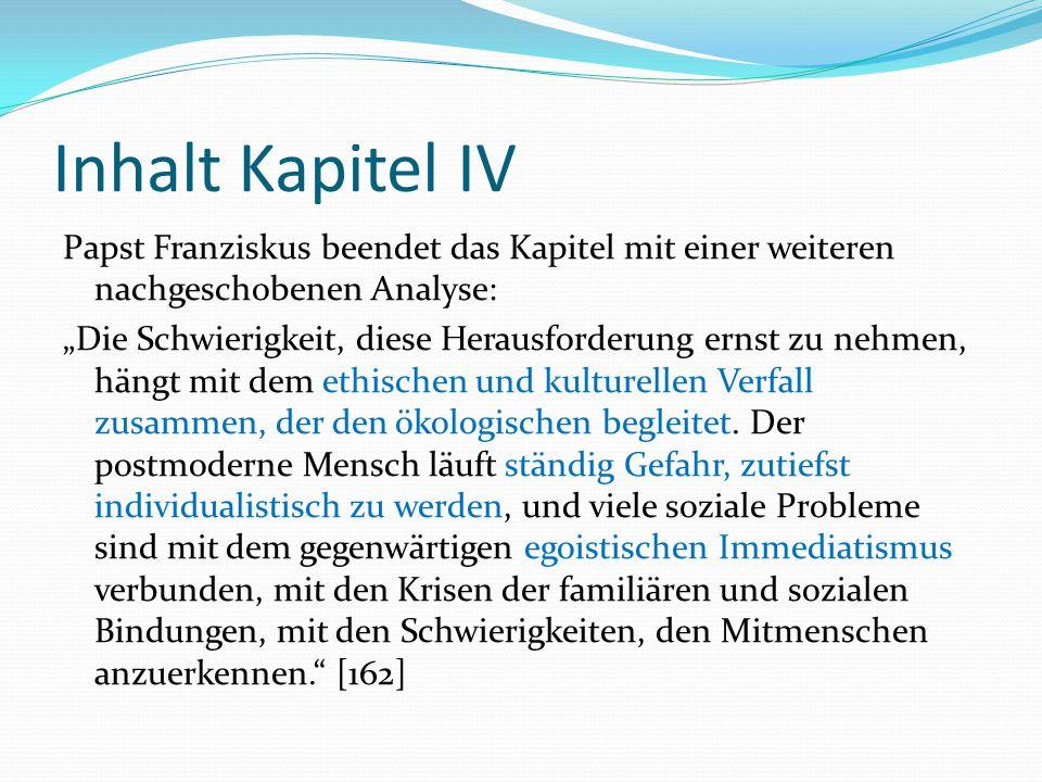 """Inhalt Kapitel IV Papst Franziskus beendet das Kapitel mit einer weiteren nachgeschobenen Analyse: """"Die Schwierigkeit, diese Herausforderung ernst zu"""
