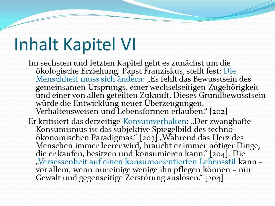 Inhalt Kapitel VI Im sechsten und letzten Kapitel geht es zunächst um die ökologische Erziehung. Papst Franziskus, stellt fest: Die Menschheit muss si