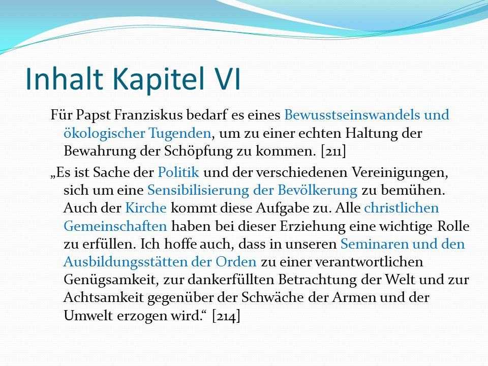 Inhalt Kapitel VI Für Papst Franziskus bedarf es eines Bewusstseinswandels und ökologischer Tugenden, um zu einer echten Haltung der Bewahrung der Sch