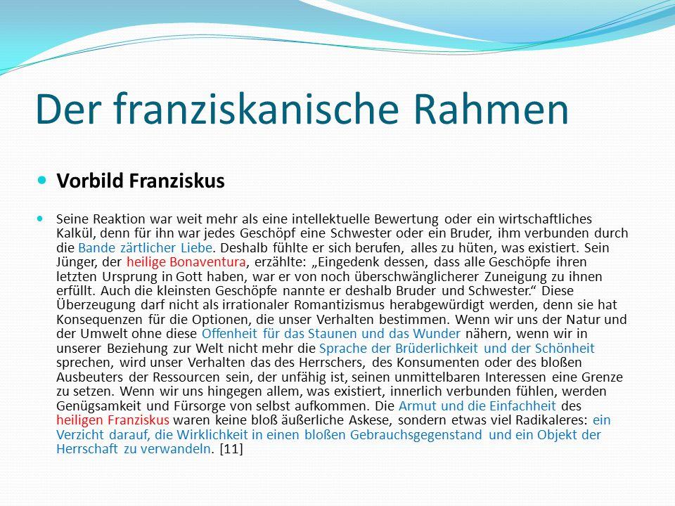 Der franziskanische Rahmen Vorbild Franziskus Seine Reaktion war weit mehr als eine intellektuelle Bewertung oder ein wirtschaftliches Kalkül, denn fü