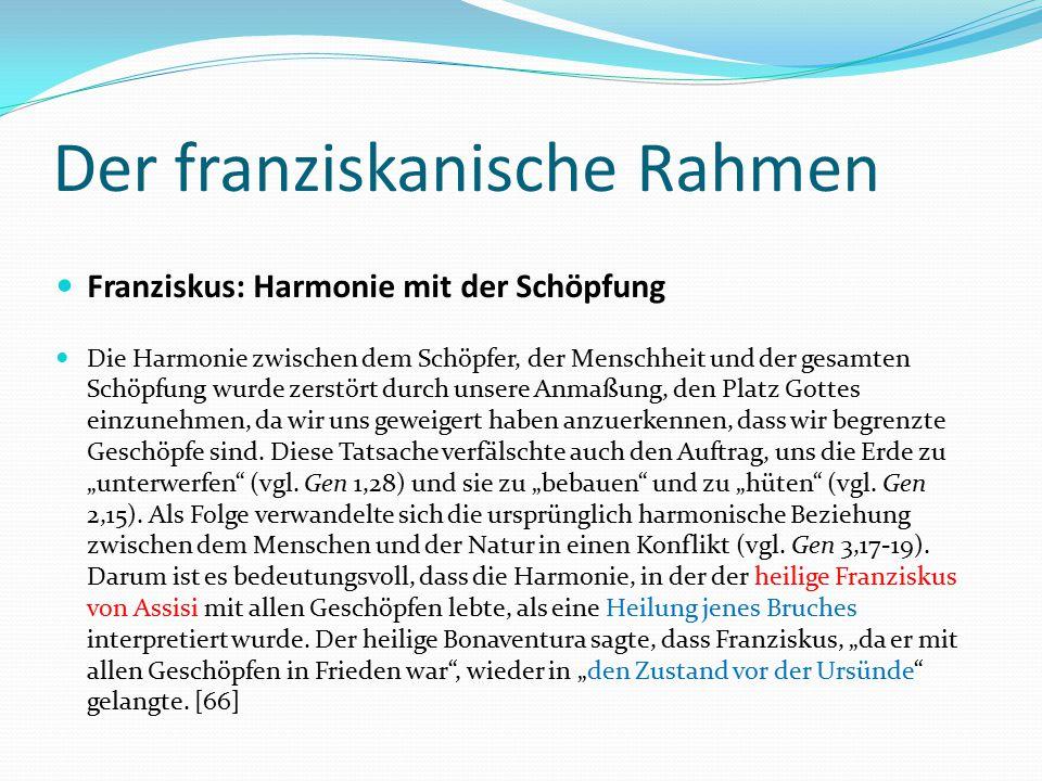 Der franziskanische Rahmen Franziskus: Harmonie mit der Schöpfung Die Harmonie zwischen dem Schöpfer, der Menschheit und der gesamten Schöpfung wurde