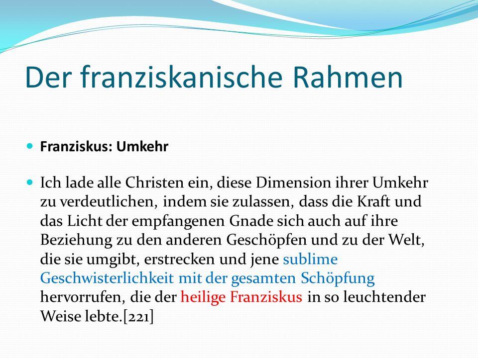Der franziskanische Rahmen Franziskus: Umkehr Ich lade alle Christen ein, diese Dimension ihrer Umkehr zu verdeutlichen, indem sie zulassen, dass die