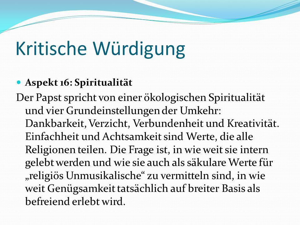 Kritische Würdigung Aspekt 16: Spiritualität Der Papst spricht von einer ökologischen Spiritualität und vier Grundeinstellungen der Umkehr: Dankbarkei