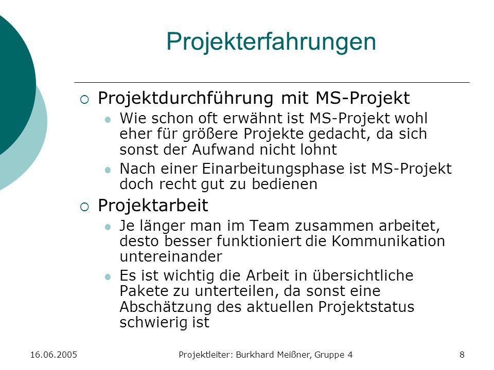 16.06.2005Projektleiter: Burkhard Meißner, Gruppe 48 Projekterfahrungen  Projektdurchführung mit MS-Projekt Wie schon oft erwähnt ist MS-Projekt wohl