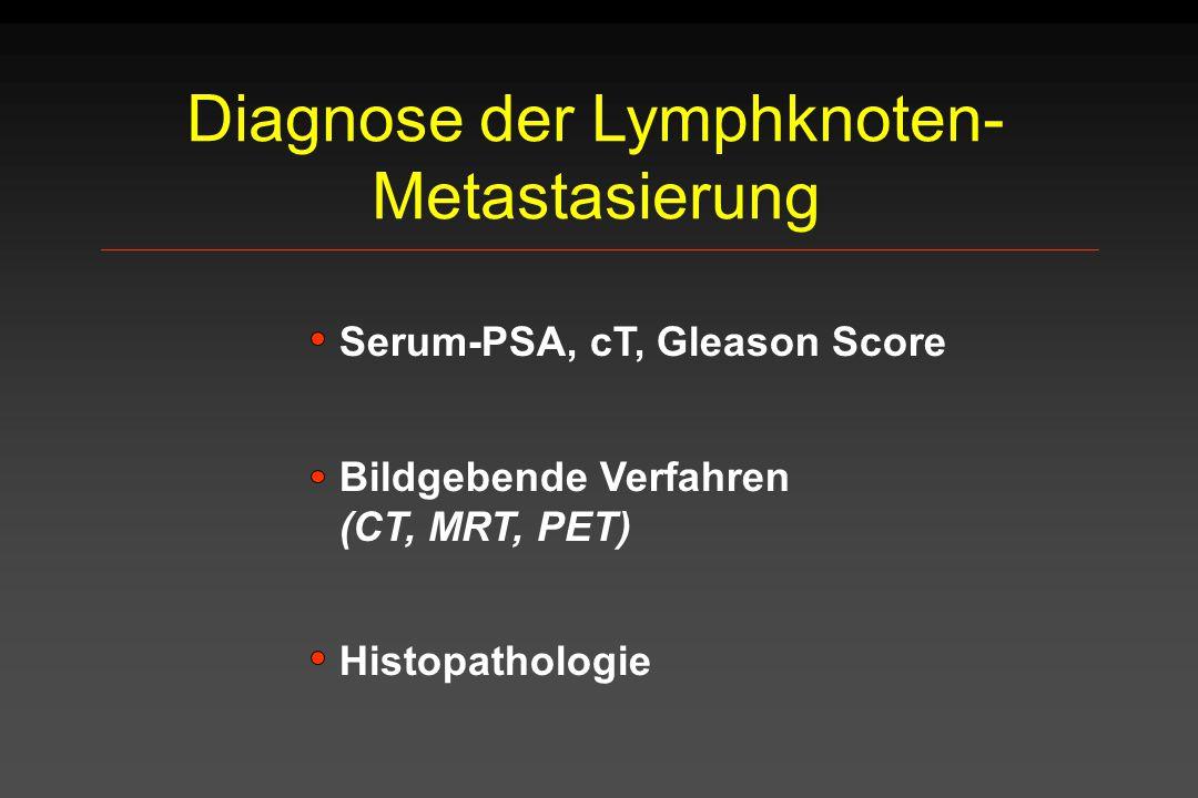 Diagnose der Lymphknoten- Metastasierung Serum-PSA, cT, Gleason Score Bildgebende Verfahren (CT, MRT, PET) Histopathologie