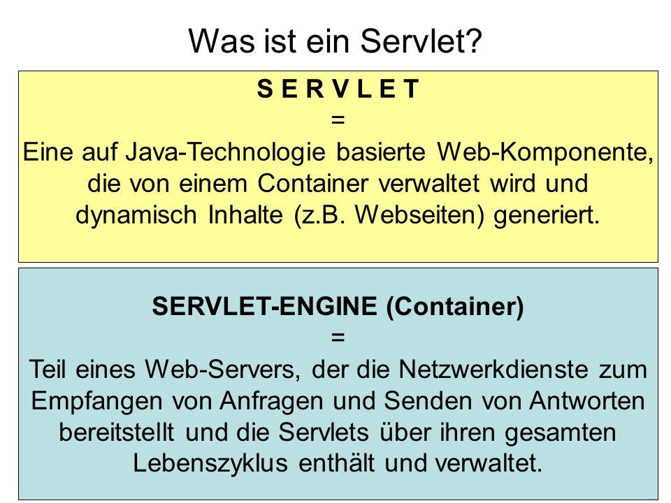 HTML ist stateless Ausweg Cookies Werte in URL speichern Hidden Fields Servlets/JSP: session (javax.servlet.http.HttpSession) Verwendet Cookies: Hashmap mit Attribut/Werte-Paare session.setAttribute( accessCount , new Integer(0)); session.getAttribute( accessCount ); … (siehe Java-Doc für javax.servlet.http.HttpSession )