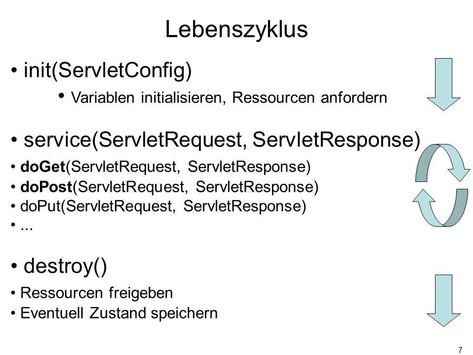 7 Lebenszyklus init(ServletConfig) Variablen initialisieren, Ressourcen anfordern service(ServletRequest, ServletResponse) doGet(ServletRequest, ServletResponse) doPost(ServletRequest, ServletResponse) doPut(ServletRequest, ServletResponse)...