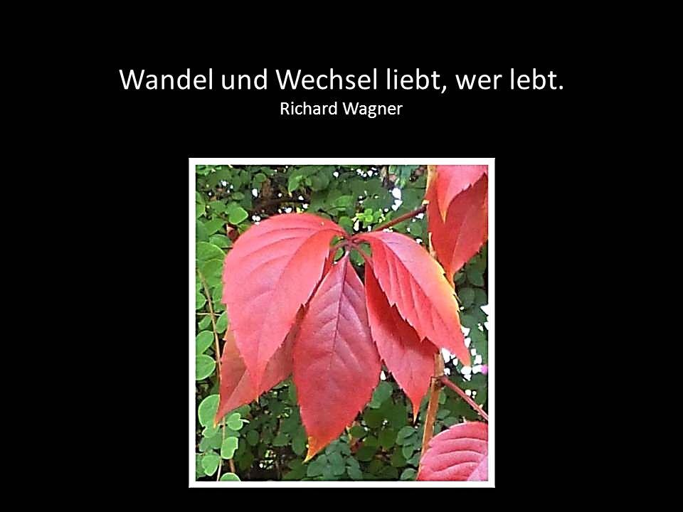Wandel und Wechsel liebt, wer lebt. Richard Wagner