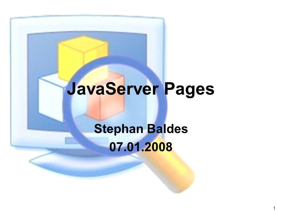 12 JSP Syntax Skriptelemente – : Deklarationen Variablen- und Methodendeklarationen – : Skriptlet Beliebiger Quelltext – : Ausdrücke Ausdruck wird in einen String konvertiert und in den Seitentext eingefügt.