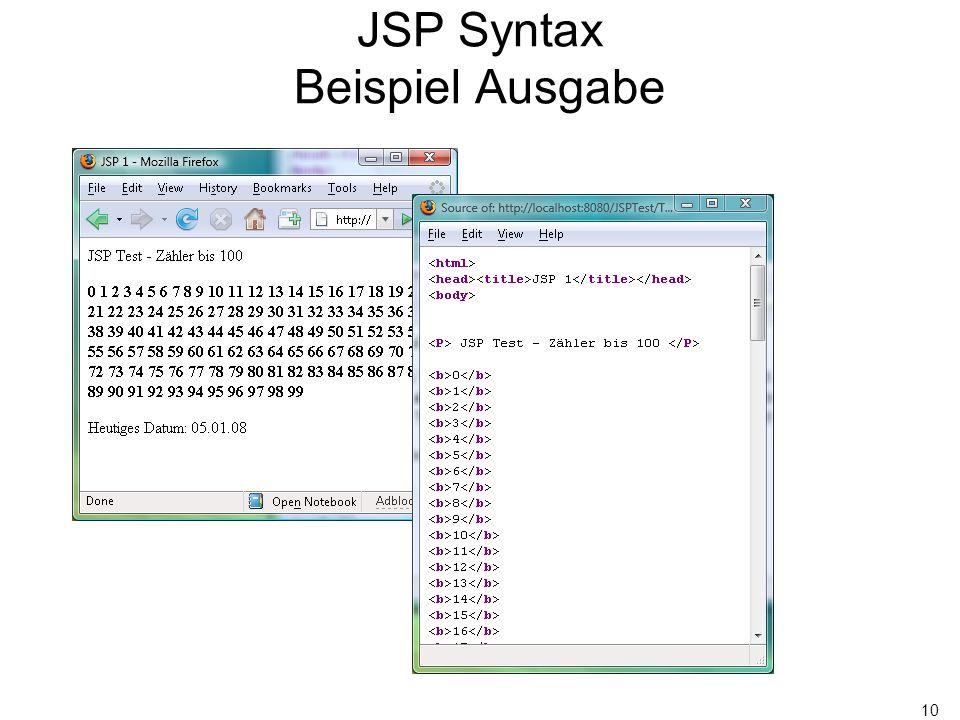 10 JSP Syntax Beispiel Ausgabe