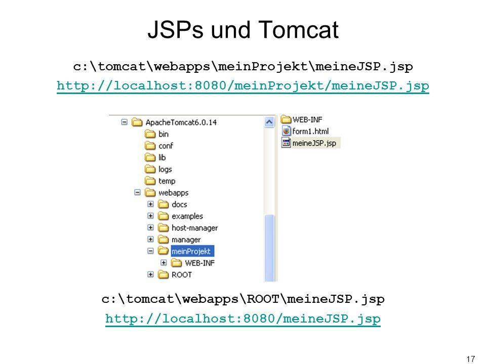 17 JSPs und Tomcat c:\tomcat\webapps\meinProjekt\meineJSP.jsp http://localhost:8080/meinProjekt/meineJSP.jsp c:\tomcat\webapps\ROOT\meineJSP.jsp http: