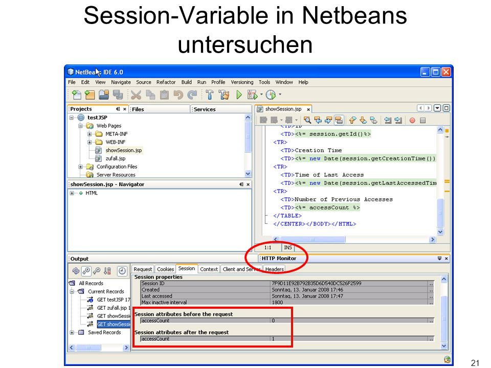 21 Session-Variable in Netbeans untersuchen