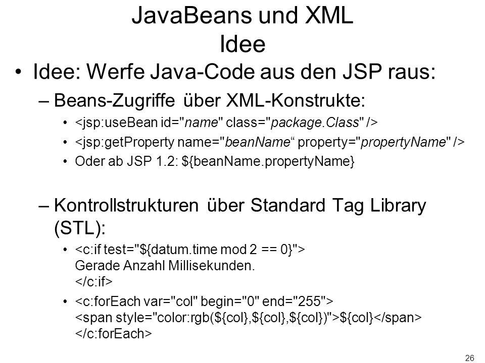 26 JavaBeans und XML Idee Idee: Werfe Java-Code aus den JSP raus: –Beans-Zugriffe über XML-Konstrukte: Oder ab JSP 1.2: ${beanName.propertyName} –Kont