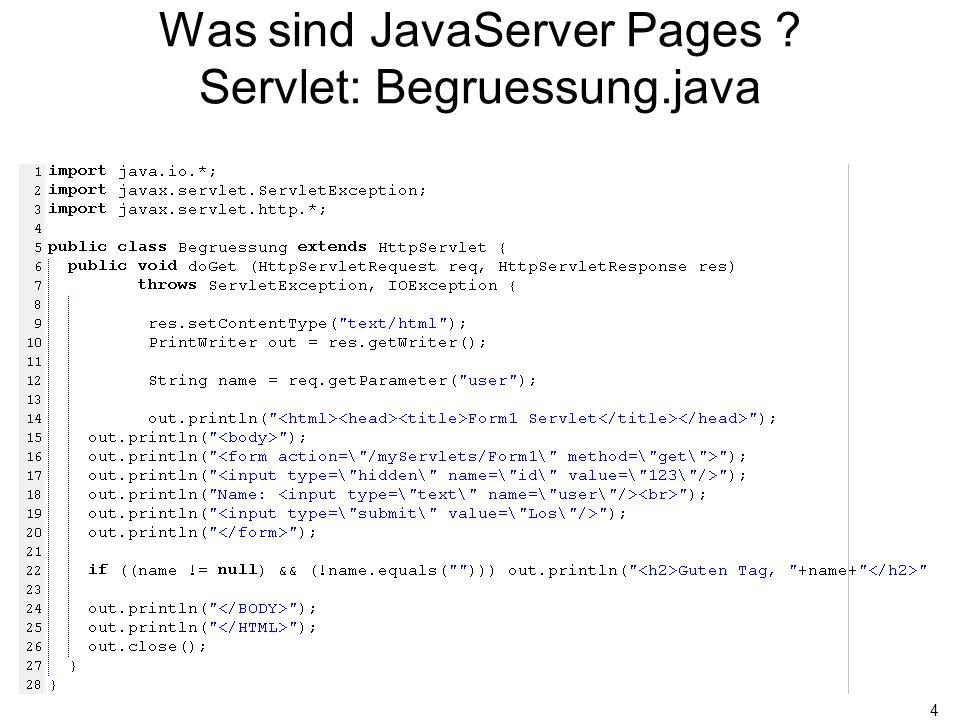 15 JSP Syntax Spezielle Variablen request (javax.servlet.http.HttpRequest) response (javax.servlet.http.HttpResponse) out (javax.servlet.jsp.JspWriter) config (javax.servlet.ServletConfig) session (javax.servlet.http.HttpSession) application (javax.servlet.ServletContext) exception (java.lang.Throwable)