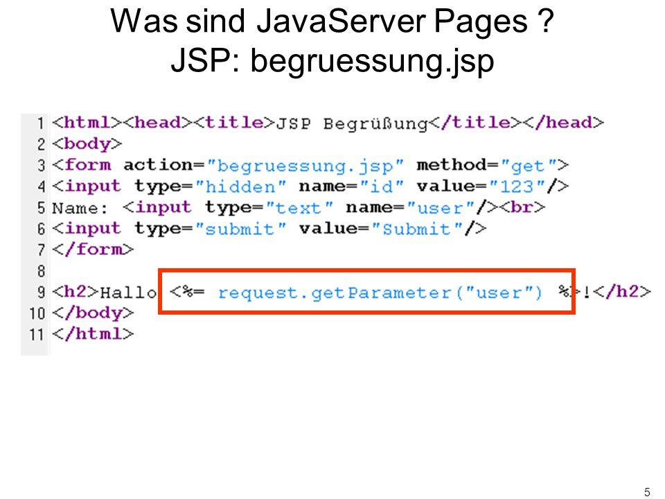26 JavaBeans und XML Idee Idee: Werfe Java-Code aus den JSP raus: –Beans-Zugriffe über XML-Konstrukte: Oder ab JSP 1.2: ${beanName.propertyName} –Kontrollstrukturen über Standard Tag Library (STL): Gerade Anzahl Millisekunden.