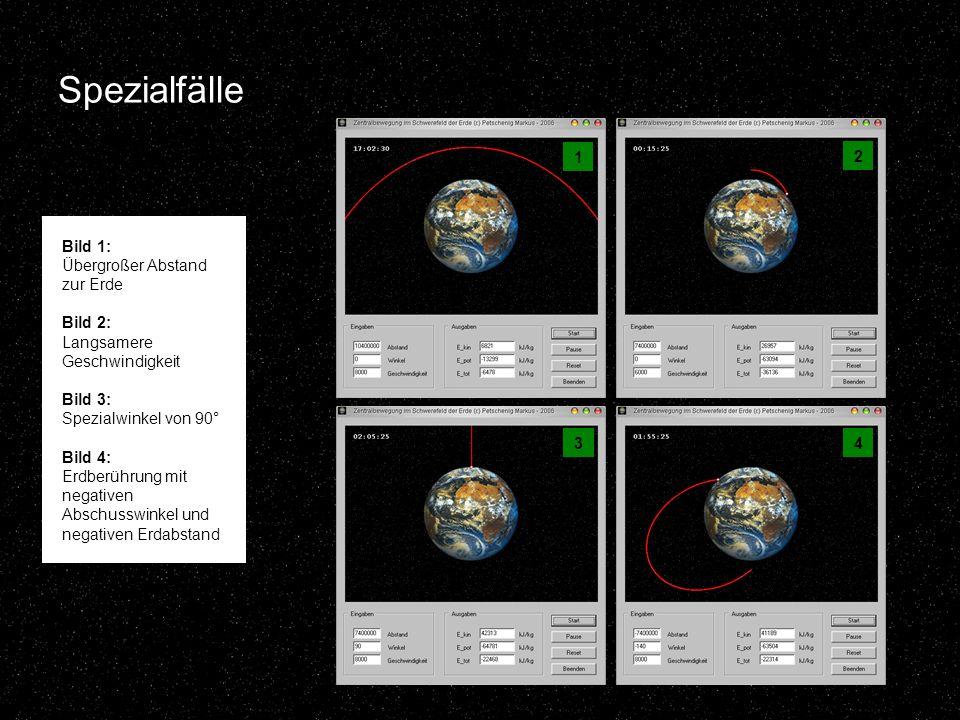 Spezialfälle 1 2 43 Bild 1: Übergroßer Abstand zur Erde Bild 2: Langsamere Geschwindigkeit Bild 3: Spezialwinkel von 90° Bild 4: Erdberührung mit negativen Abschusswinkel und negativen Erdabstand