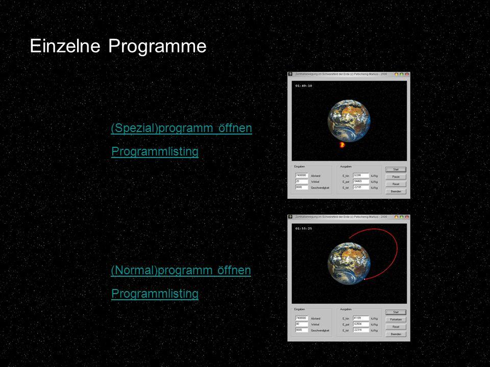 Einzelne Programme (Spezial)programm öffnen Programmlisting (Normal)programm öffnen Programmlisting