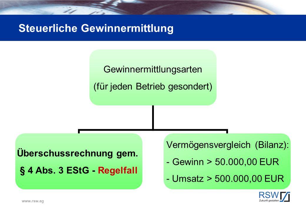 www.rsw.ag Steuerliche Gewinnermittlung Gewinnermittlungsarten (für jeden Betrieb gesondert) Überschussrechnung gem. § 4 Abs. 3 EStG - Regelfall Vermö