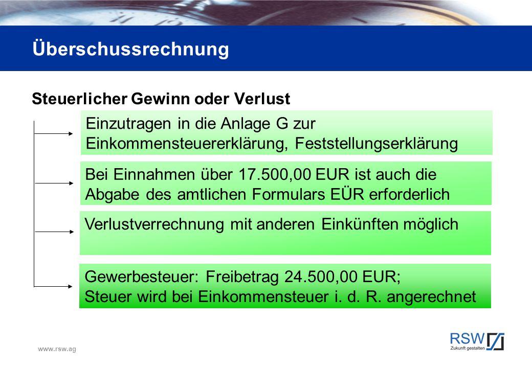 www.rsw.ag Überschussrechnung Steuerlicher Gewinn oder Verlust Einzutragen in die Anlage G zur Einkommensteuererklärung, Feststellungserklärung Bei Ei