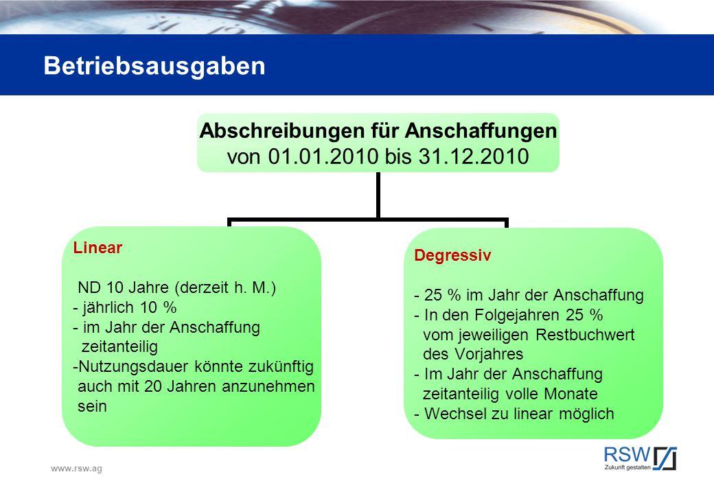 www.rsw.ag Betriebsausgaben Abschreibungen für Anschaffungen von 01.01.2010 bis 31.12.2010 Linear ND 10 Jahre (derzeit h. M.) jährlich 10 % im Jahr de