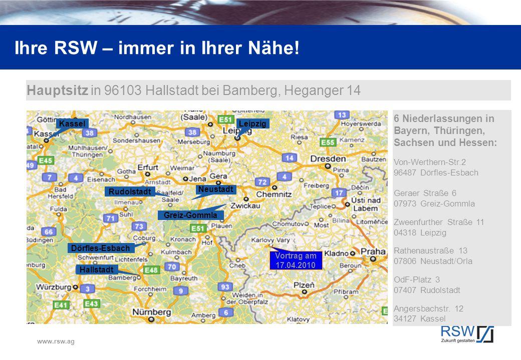 www.rsw.ag Ihre RSW – immer in Ihrer Nähe! KasselLeipzig Dörfles-Esbach Hallstadt Rudolstadt Greiz-Gommla Neustadt Vortrag am 17.04.2010 Hauptsitz in