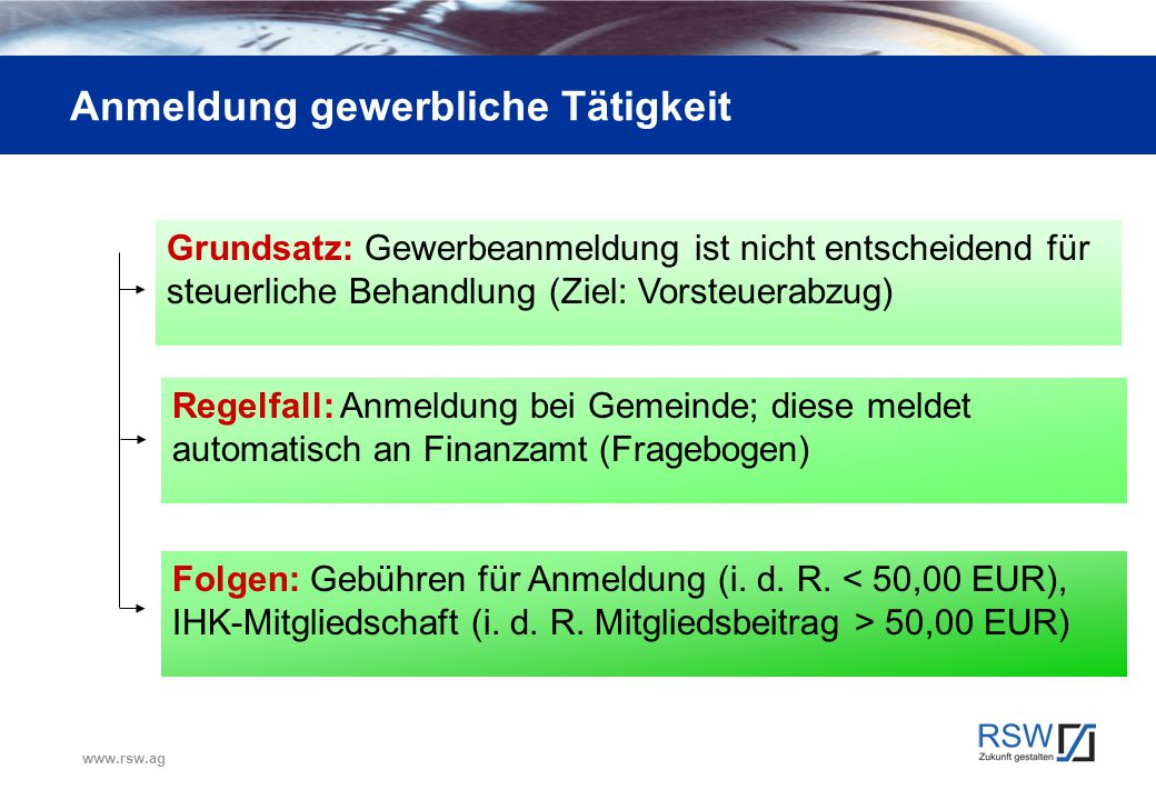 www.rsw.ag Anmeldung gewerbliche Tätigkeit Grundsatz: Gewerbeanmeldung ist nicht entscheidend für steuerliche Behandlung (Ziel: Vorsteuerabzug) Regelf
