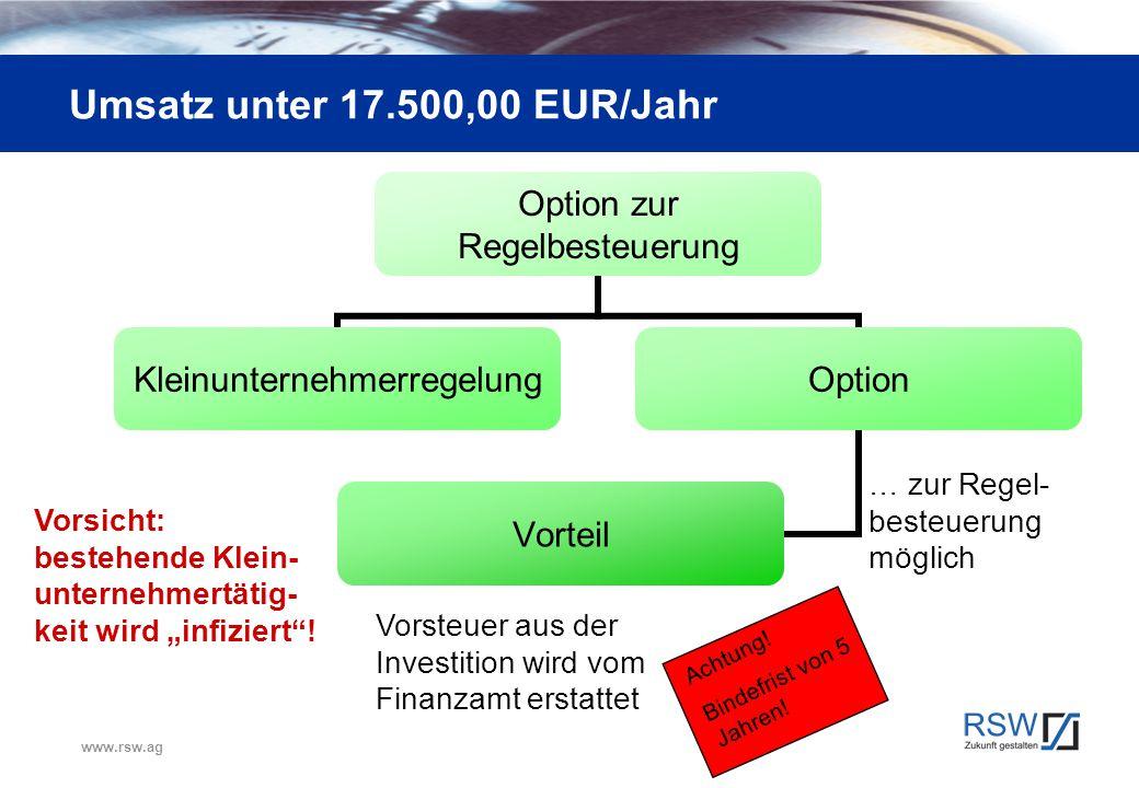 www.rsw.ag Umsatz unter 17.500,00 EUR/Jahr Option zur Regelbesteuerung KleinunternehmerregelungOption Vorteil Vorsicht: bestehende Klein- unternehmert