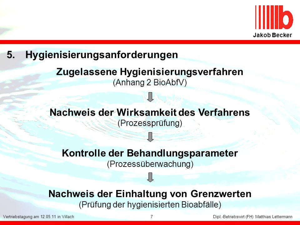 1 Jakob Becker Dipl.-Betriebswirt (FH) Matthias LettermannVertriebstagung am 12.05.11 in Villach 5.Hygienisierungsanforderungen 7 Zugelassene Hygienis