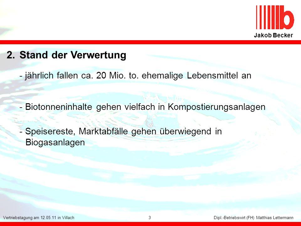 15 Jakob Becker Dipl.-Betriebswirt (FH) Matthias LettermannVertriebstagung am 12.05.11 in Villach 2.Stand der Verwertung - jährlich fallen ca. 20 Mio.