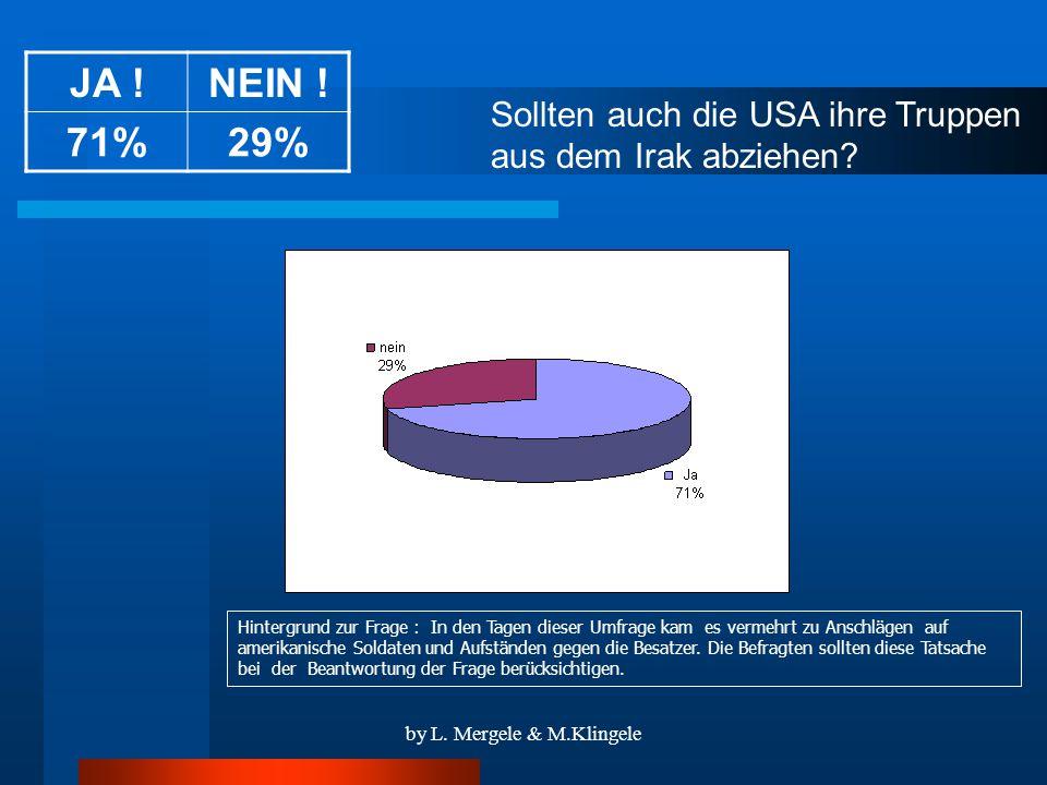 by L. Mergele & M.Klingele Sollten auch die USA ihre Truppen aus dem Irak abziehen.
