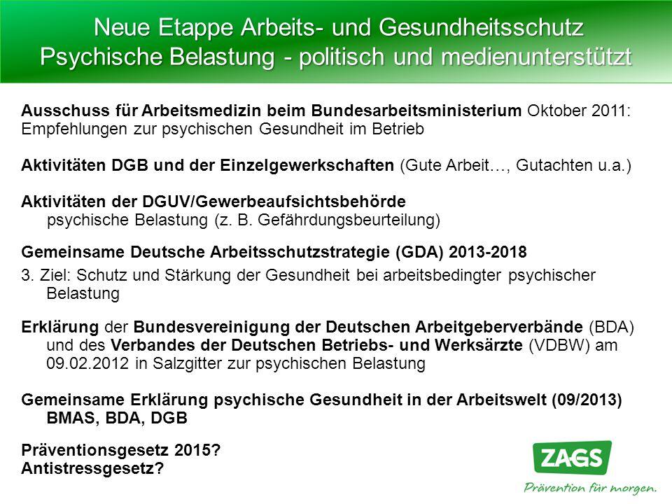 Ausschuss für Arbeitsmedizin beim Bundesarbeitsministerium Oktober 2011: Empfehlungen zur psychischen Gesundheit im Betrieb Aktivitäten DGB und der Ei