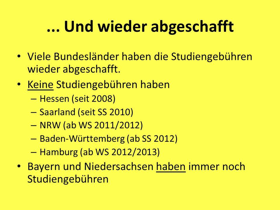... Und wieder abgeschafft Viele Bundesländer haben die Studiengebühren wieder abgeschafft. Keine Studiengebühren haben – Hessen (seit 2008) – Saarlan