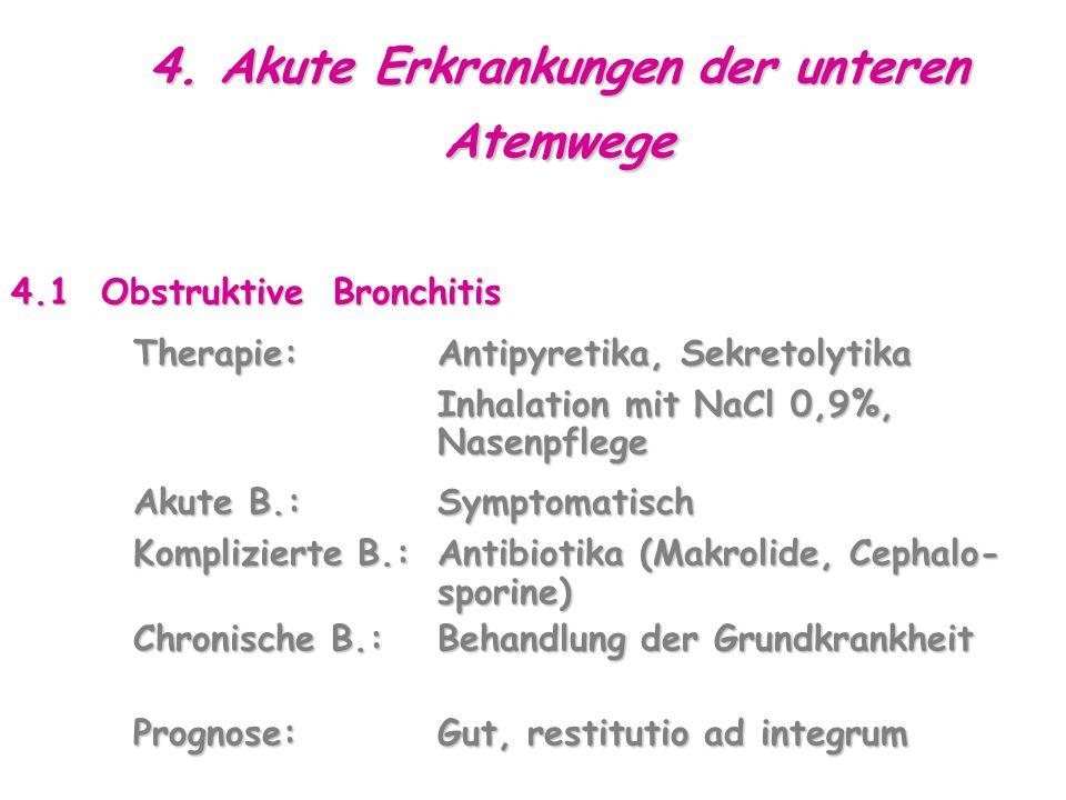 4. Akute Erkrankungen der unteren Atemwege 4.1 Obstruktive Bronchitis Therapie:Antipyretika, Sekretolytika Therapie:Antipyretika, Sekretolytika Inhala