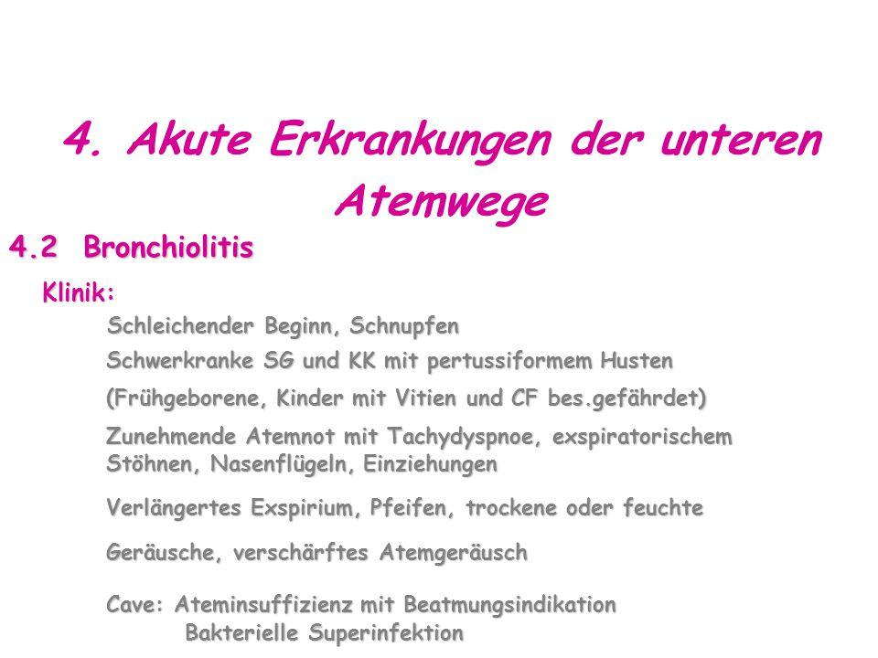 4. Akute Erkrankungen der unteren Atemwege 4.2 Bronchiolitis Klinik: Schleichender Beginn, Schnupfen Schleichender Beginn, Schnupfen Schwerkranke SG u