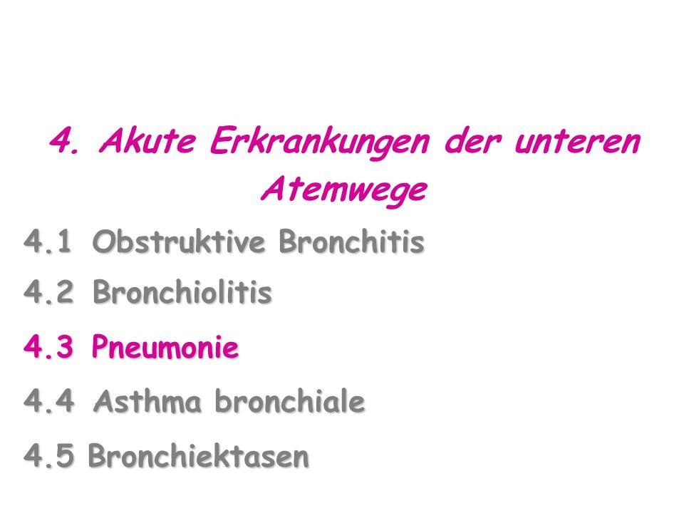 4. Akute Erkrankungen der unteren Atemwege 4.1Obstruktive Bronchitis 4.2Bronchiolitis 4.3Pneumonie 4.4Asthma bronchiale 4.5 Bronchiektasen