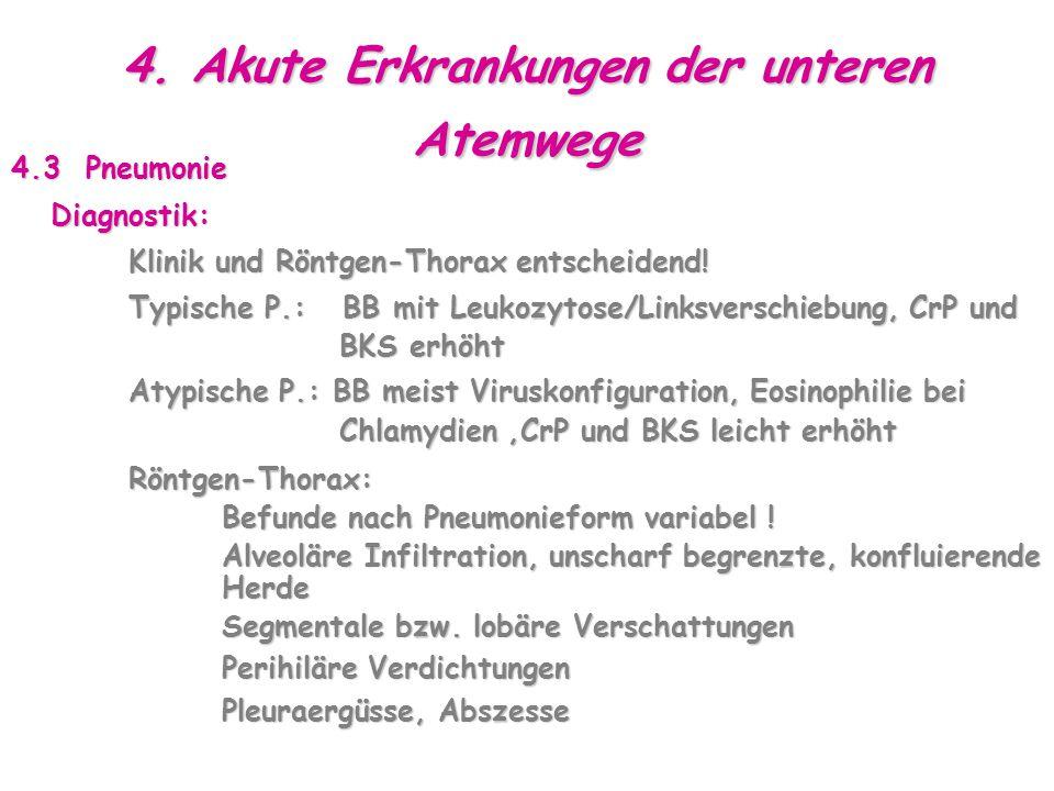 4. Akute Erkrankungen der unteren Atemwege 4.3 Pneumonie Diagnostik: Klinik und Röntgen-Thorax entscheidend! Klinik und Röntgen-Thorax entscheidend! T