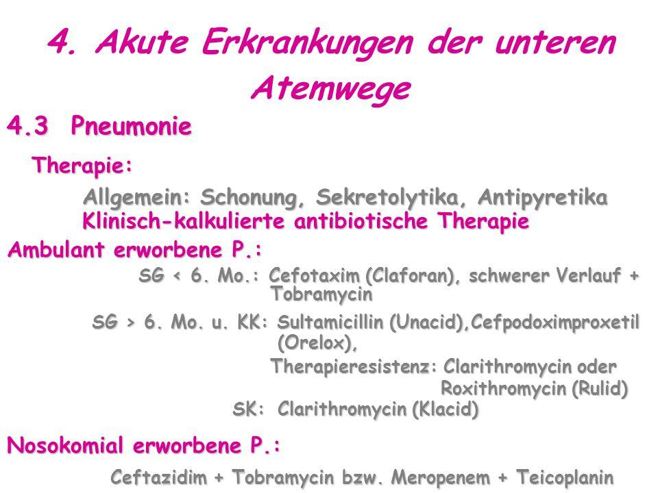4. Akute Erkrankungen der unteren Atemwege 4.3 Pneumonie Therapie: Allgemein: Schonung, Sekretolytika, Antipyretika Klinisch-kalkulierte antibiotische