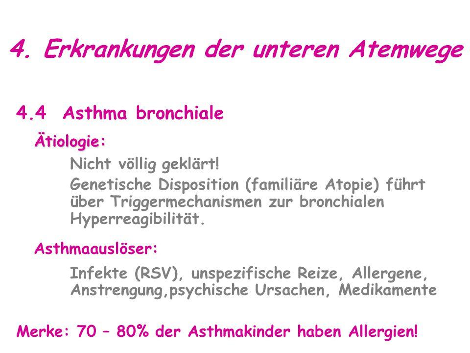 4.Erkrankungen der unteren Atemwege 4.4 Asthma bronchialeÄtiologie: Nicht völlig geklärt.