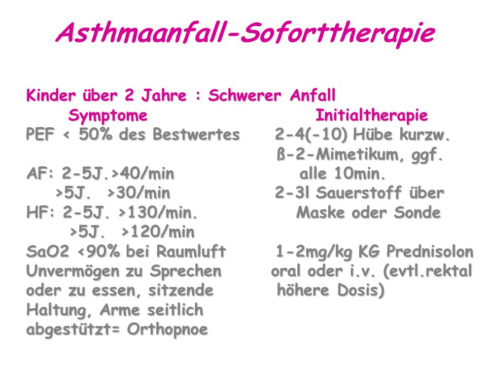 Asthmaanfall-Soforttherapie Kinder über 2 Jahre : Schwerer Anfall Symptome Initialtherapie Symptome Initialtherapie PEF < 50% des Bestwertes 2-4(-10) Hübe kurzw.