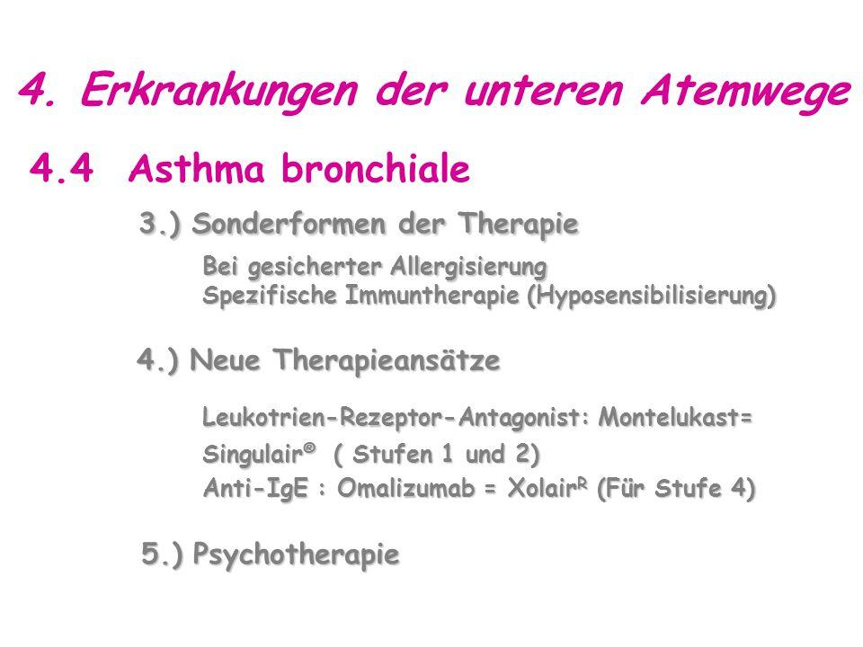 4. Erkrankungen der unteren Atemwege 4.4 Asthma bronchiale 3.) Sonderformen der Therapie Bei gesicherter Allergisierung Bei gesicherter Allergisierung