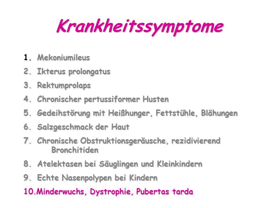 Krankheitssymptome 1.Mekoniumileus 2. Ikterus prolongatus 3.
