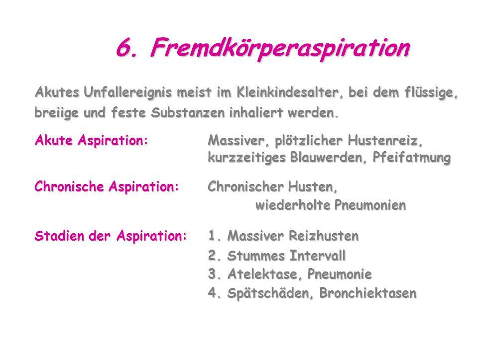 6. Fremdkörperaspiration Akutes Unfallereignis meist im Kleinkindesalter, bei dem flüssige, breiige und feste Substanzen inhaliert werden. Akute Aspir