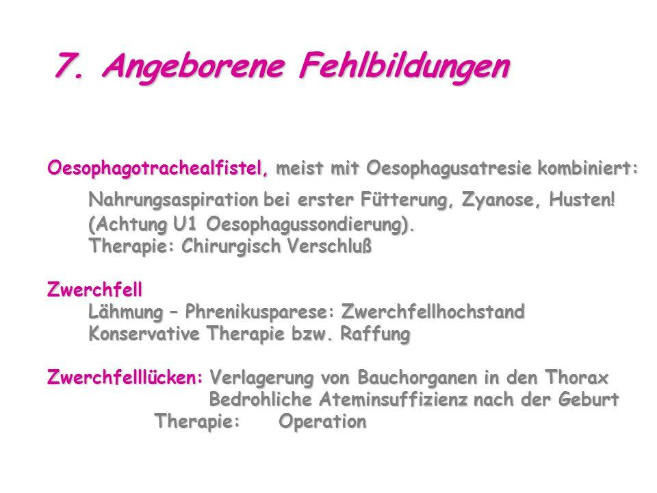 7. Angeborene Fehlbildungen Oesophagotrachealfistel, meist mit Oesophagusatresie kombiniert: Nahrungsaspiration bei erster Fütterung, Zyanose, Husten!
