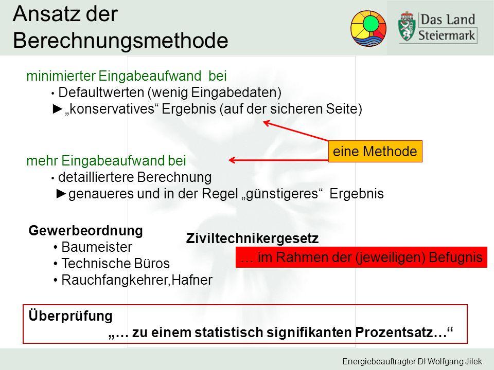 """Energiebeauftragter DI Wolfgang Jilek Ansatz der Berechnungsmethode minimierter Eingabeaufwand bei Defaultwerten (wenig Eingabedaten) ►""""konservatives"""""""