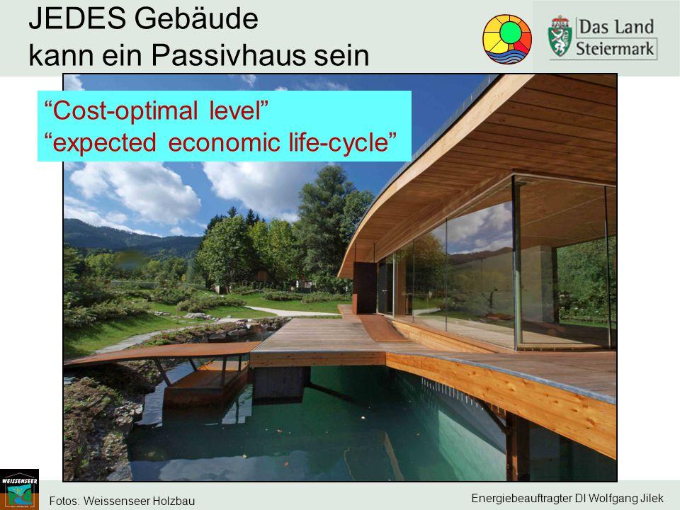 "Energiebeauftragter DI Wolfgang Jilek JEDES Gebäude kann ein Passivhaus sein Fotos: Weissenseer Holzbau ""Cost-optimal level"" ""expected economic life-c"