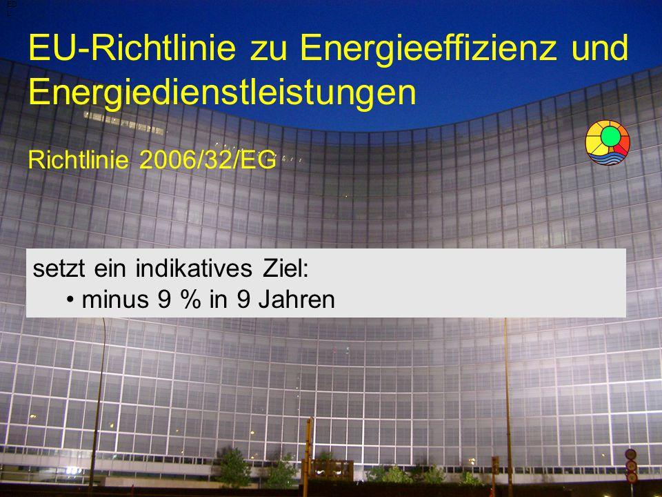 Energiebeauftragter DI Wolfgang Jilek EU-Richtlinie zu Energieeffizienz und Energiedienstleistungen Richtlinie 2006/32/EG ED L setzt ein indikatives Z