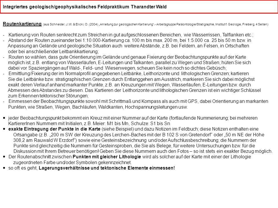"""Integriertes geologisch/geophysikalisches Feldpraktikum Tharandter Wald Routenkartierung (aus Schneider, J.W. & Elicki, O. (2004) """"Anleitung zur geolo"""