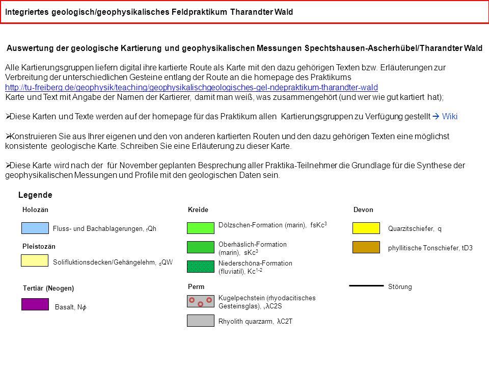 Integriertes geologisch/geophysikalisches Feldpraktikum Tharandter Wald Auswertung der geologische Kartierung und geophysikalischen Messungen Spechtsh
